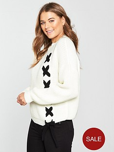 v-by-very-contrast-lace-up-front-jumper
