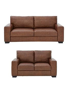 Very Hampshire 3 Seater + 2 Seater Italian Leather Sofa Set (Buy And Save!) Picture