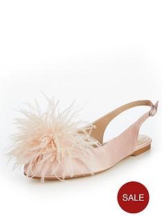 v-by-very-apple-feather-trim-flat-slingback-blush