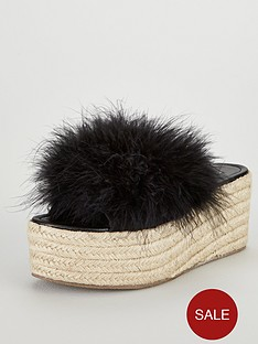 v-by-very-gigi-feather-mule-wedge-black