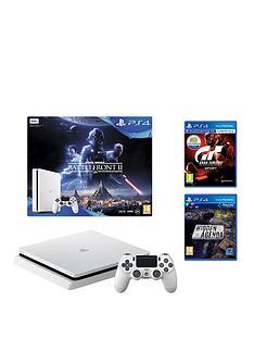 playstation-4-slim-500gbnbspconsole-white-bundle-with-star-wars-battlefront-2nbspgran-turismo-sport-and-hidden-agenda