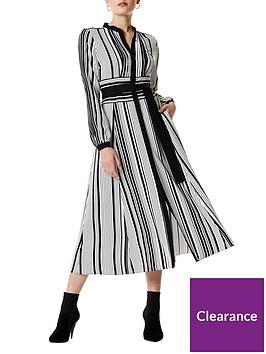 karen-millen-graphic-stripe-midi-dress-blackwhite