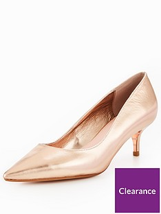 5b1b807e8e Dune London Alesandra Wide Fit Kitten Heel Court Shoe - Rose Gold