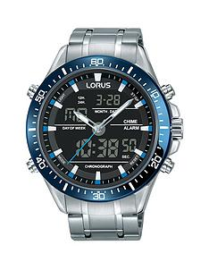 lorus-mens-analogue-andnbspdigital-watch-with-blue-ionised-bezel-and-stainless-steel-bracelet