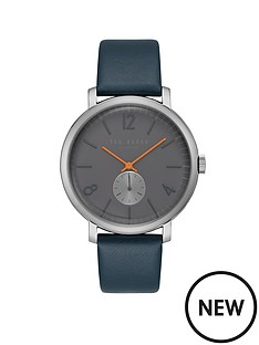 ted-baker-grey-dial-silver-case-navynbspleather-strap-mens-watch