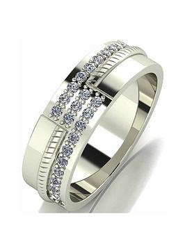 Love GOLD Love Gold 9Ct White Gold Diamond Set Mens 6Mm Wedding Band Picture