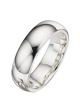 The Love Silver Collection Argentium 6mm Wedding Band Littlewoods