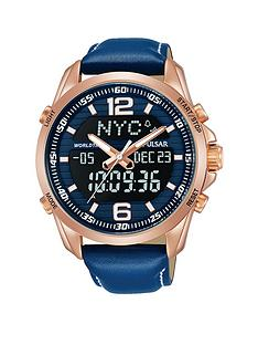 pulsar-mens-duo-display-analogue-and-digital-world-time-watch-with-a-rose-gold-plated-stainless-steel-case-and-blue-leather-strap-featuring-a-blue-dial