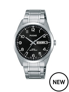 pulsar-pulsar-men039s-analogue-watch-with-a-stainless-steel-case-and-bracelet-featuring-a-black-dial