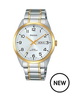 pulsar-pulsar-men039s-analogue-watch-with-a-tone-tone-stainless-steel-case-and-bracelet-featuring-a-silver-dial