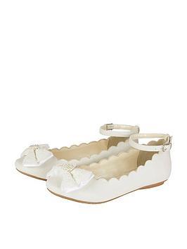monsoon monsoon girls scalloped lace bow ballerina shoe