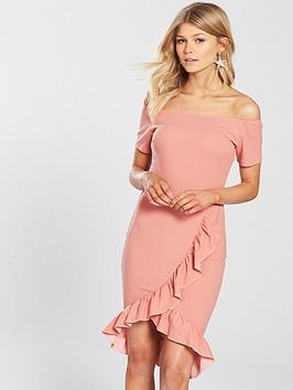 ax-paris-petite-off-the-shoulder-frill-front-bodyconnbspdress-blush