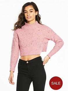 miss-selfridge-petite-crop-jumper-pink