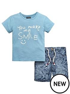 mini-v-by-very-boys-smile-slogan-tee-and-short-set