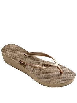 1a498c03cc Havaianas High Light Wedge Flip Flop Sandal - Rose Gold | littlewoods.com