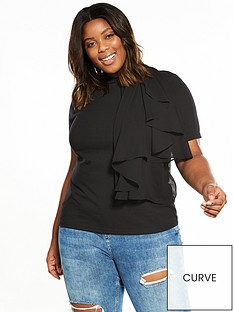 lost-ink-curve-t-shirt-with-woven-frill-black