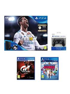 playstation-4-fifa-18-500gb-jet-black-ps4-bundle-with-additional-dualshock-with-gran-turismo-sport-knowledge-of-power-and-extra-black-dualshock