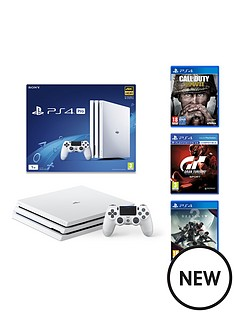 playstation-4-pro-console-glacier-whitenbspwith-gran-turismo-sport-call-of-duty-wwii-and-destiny-2-plus-optional-extra-wireless-controller-andor-12-months-playstation-network