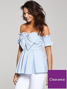 michelle-keegan-cotton-poplin-bow-front-bardot-blouse