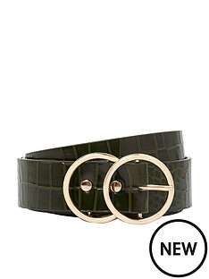 river-island-double-circle-belt--green