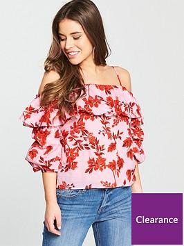 v-by-very-petite-volume-sleeve-cold-shoulder-blouse-redpink