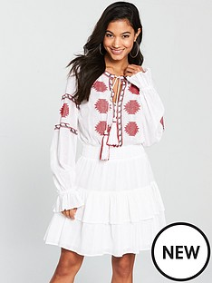 v-by-very-embroidered-tie-neck-dress-white