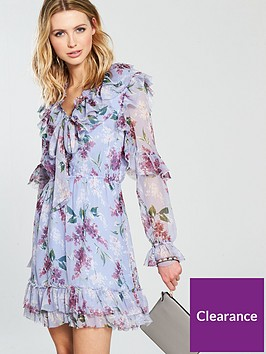 v-by-very-printed-ruffled-tie-front-dress-lilacnbsp
