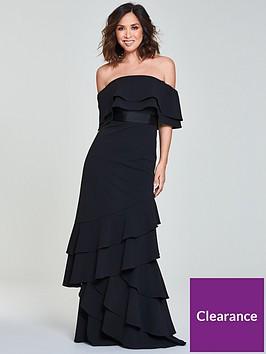 0d2dcbac45a2 Myleene Klass Frill Bardot Maxi Dress - Black   littlewoods.com