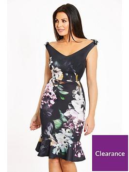 jessica-wright-floral-bardot-bow-detail-fluted-hem-midi-dress