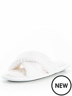 totes-isotoner-totes-popcorn-360-comfort-cross-strap-mule-spa-slipper
