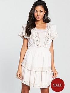v-by-very-cotton-crochet-trim-tiered-skater-dress-white