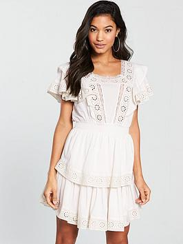 v-by-very-cotton-crochet-trim-tiered-skater-dress-white