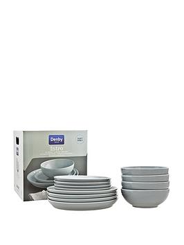 Denby Denby Intro 12-Piece Dinner Set &Ndash; Soft Grey Picture