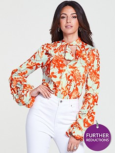 michelle-keegan-gathered-sleeve-printed-woven-body-suit-printnbsp