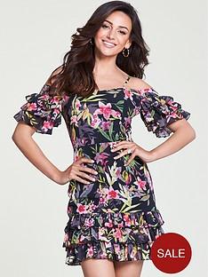 michelle-keegan-ruffle-cold-shoulder-dress-print
