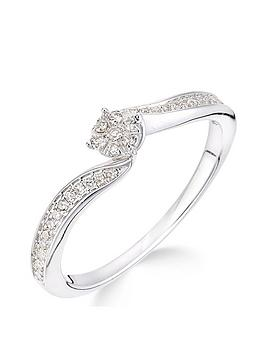 Love DIAMOND Love Diamond 9Ct White Gold 15 Point Diamond Cluster Tapered  ... Picture