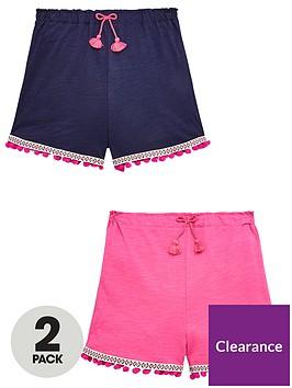 v-by-very-girls-2-pack-pom-pom-shorts-pinknavynbsp