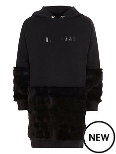 river-island-black-lsquobossrsquo-faux-fur-sweatshirt-dress