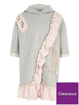 river-island-girls-grey-metallic-print-frill-hoodie-dress