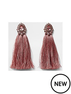river-island-river-island-pink-jewel-tassel-drop-earrings
