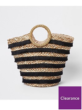 river-island-river-island-black-biege-woven-top-handle-beach-bag-black