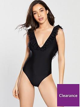 v-by-very-frill-back-swimsuit-black