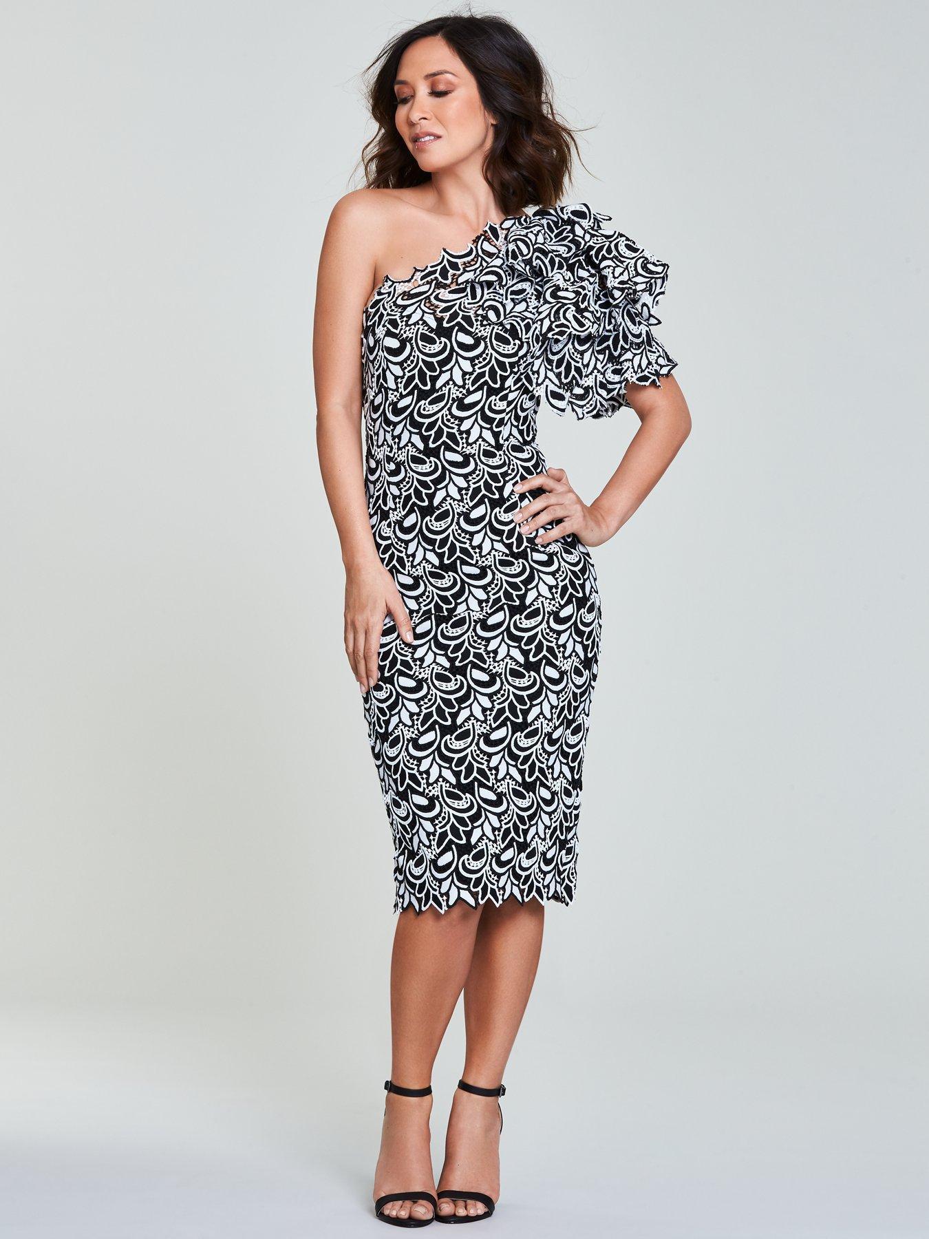 Myleene Klass Lace One Shoulder Pencil Dress - Mono