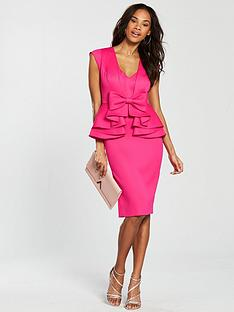 v-by-very-peplum-bow-pencil-dress-pink