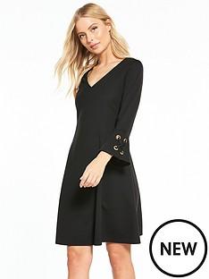 wallis-eyelet-flute-sleeve-dress-black