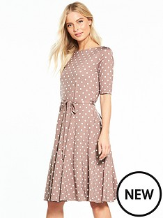 wallis-spot-jersey-fit-and-flare-dress-taupe