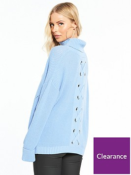 wallis-lace-up-back-knitted-jumper-light-blue