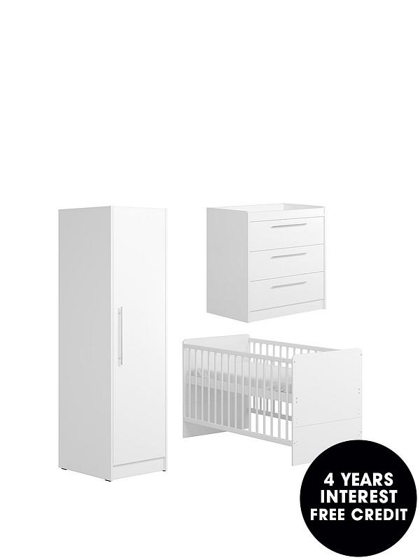 Portofino Cot Bed Dresser And Single Wardrobe White