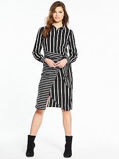 warehouse-stripe-wrap-shirt-dress