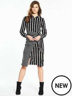 warehouse-stripe-wrap-shirt-dress